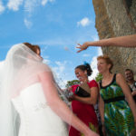 Confetti being thrown at Bride outside Church
